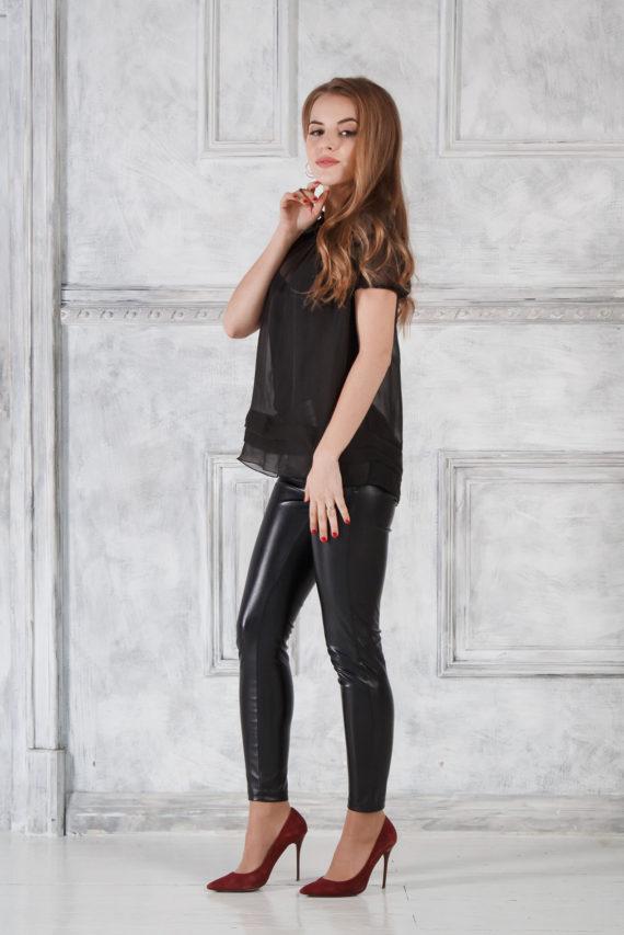 Блузка черная из шифона Solena