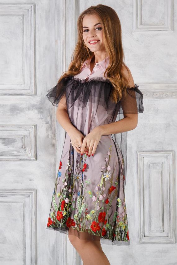 Платье – рубашка розовое с вышивкой «Полевые цветы»