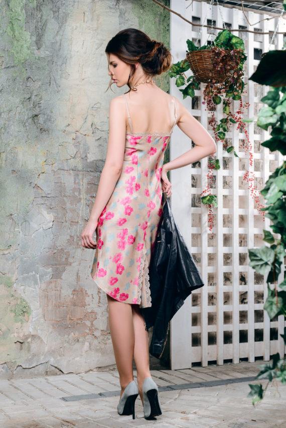 Платье комбинация с принтом «Весенние цветы»