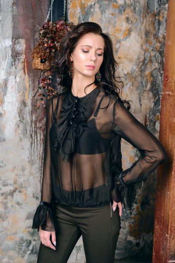 Блуза шифоновая с жабо темно-зеленая «Ангел» Solena Brand