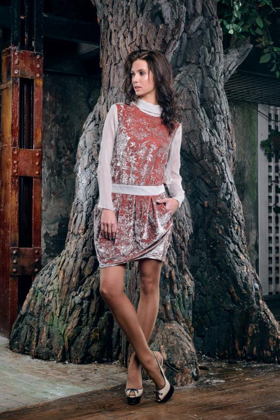 Платье бархатное «Зимний букет»