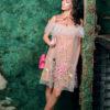 Платье – рубашка бежевое с вышивкой «Полевые цветы»